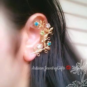 Gold Branch Crystal Ear Cuff